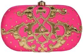 5-Elements Women Embellished Silk - Clutch Pink