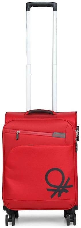 United Colors Of Benetton Cabin Size Soft Luggage Bag - Red , 4 Wheels