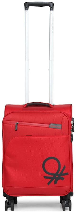 United Colors Of Benetton Cabin Size Soft Luggage Bag ( Red , 4 Wheels )