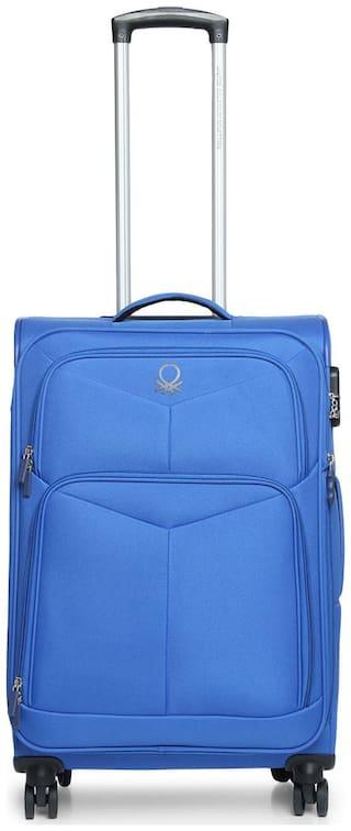 United Colors Of Benetton Medium Size Soft Luggage Bag ( Blue , 4 Wheels )