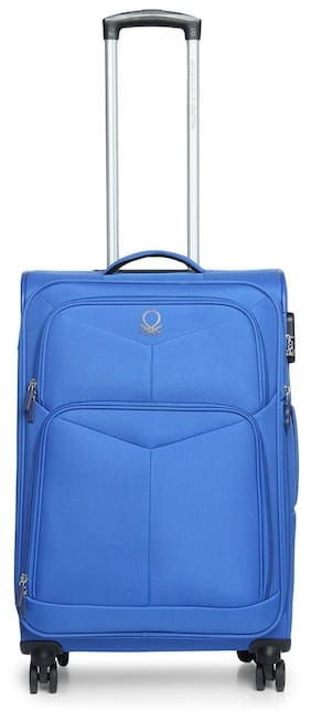 United Colors Of Benetton Medium Size Soft Luggage Bag - Blue , 4 Wheels