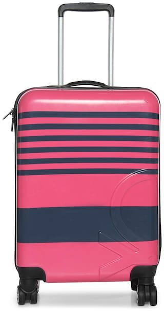 United Colors Of Benetton Cabin Size Hard Luggage Bag - Pink , 8 Wheels