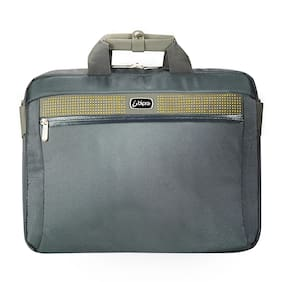 Bipra 15.6 Inch Laptop Bag with Shoulder Strap Grey/lime Suitable for 15.6 Inch