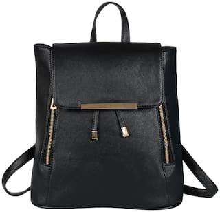 BIZARRE VOGUE Black PU Backpack