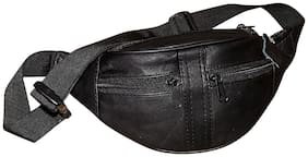 Black Genuine Leather Stylish Travel Toiletry Kit/Waist Bag For Men