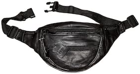 Black Genuine Leather Waist Pouch For Unisex