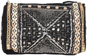5-Elements Women Embellished Canvas - Sling Bag Black