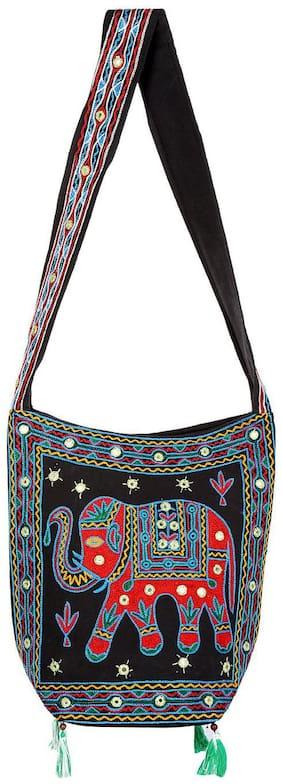 Black & Red Ethnic Sling Bag Mirror Work Cotton Sling Bags For Girls 15 X 7 X 15 Sling Bags For Women Girls Sling Bag By Rajrang