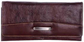 Bluwhale Women Solid Leather - Clutch Brown
