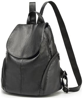 Bonmaro Black Faux Leather Backpack