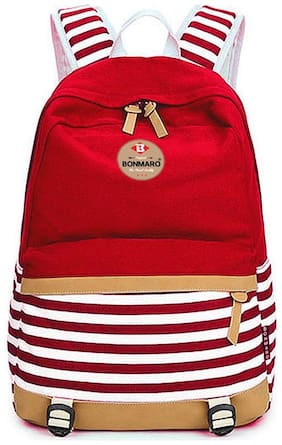 Bonmaro Stripes 25L Red Water Repellant Casual Canvas Backpack