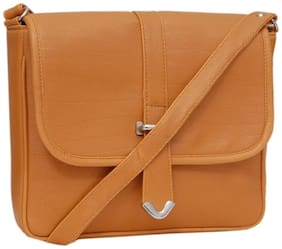 Borse Tan PU Solid Sling Bag