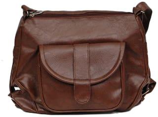 Borse Brown PU Solid Sling Bag