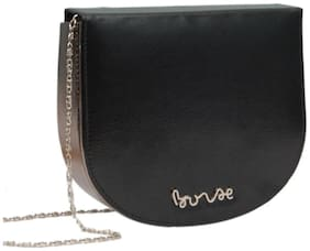 Borse Black PU Solid Sling Bag
