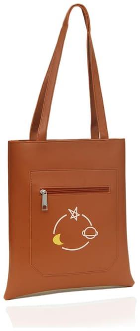 BORSE Women Solid PU - Tote Bag Brown