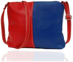 Borse Women's Red & Blue Leatherette Sling Bag