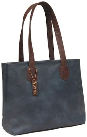 BORSE Women Solid Leather - Tote Bag Blue