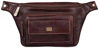 BRAND LEATHER Waist Pouch Brown