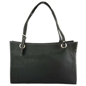 Brown Leaf Faux Leather Women Handheld Bag - Black