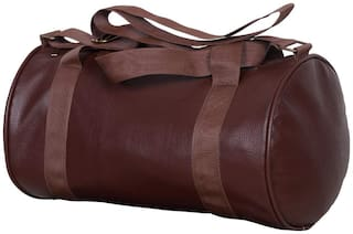Brown Leather Sports and Duffle Fitness Gym Bag