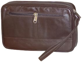 Brown Premium Quality Leather Travel Toiletry Kit/Money Hand Bag