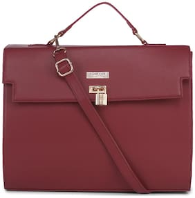 Truffle Collection Maroon Faux Leather Handheld Bag
