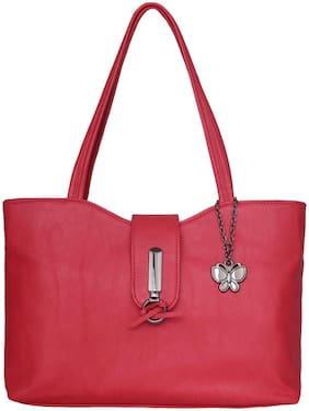 Butterflies Faux leather Women Handheld bag - Red