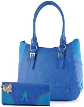 Butterflies Blue Faux Leather Handheld Bag