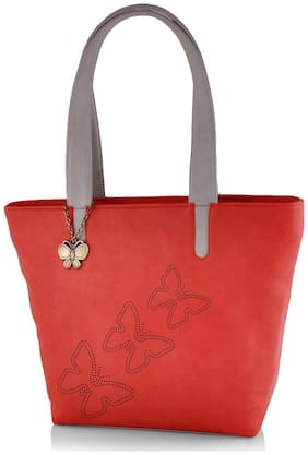 Butterflies Red Faux Leather Handheld Bag