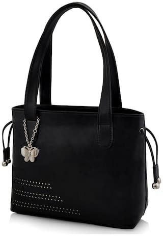 Butterflies Black Faux Leather Handheld Bag