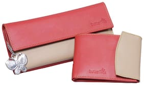 Butterflies Red & Beige Pu Pack Of 2 Wallets
