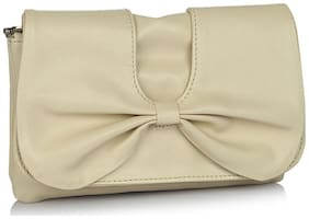 Butterflies Women Solid Faux Leather - Clutch Beige