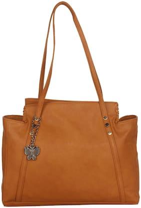 Butterflies PU Women Handheld Bag - Tan