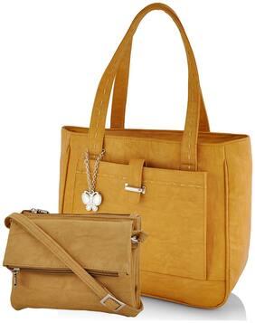 Butterflies Women's Handbag and Wallet Combos (Mustard) (BNS WB0244) (Pack of 2)
