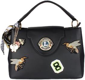 Butterflies Pu Women Handheld bag - Black