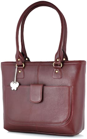 Butterflies Maroon Faux Leather Handheld Bag