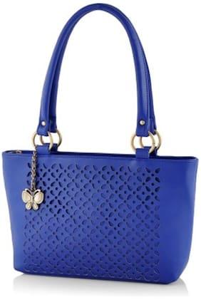 Butterflies Blue Faux Leather Handheld Bag