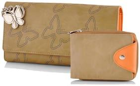 Butterflies Women Beige Wallet Combo BNS C110