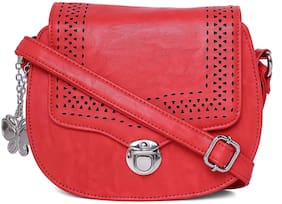 Butterflies Red PU Solid Sling Bag