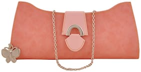 Butterflies Women Solid Faux Leather - Clutch Pink