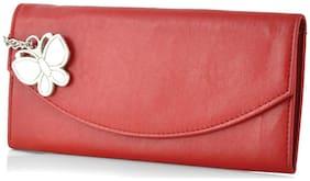 Butterflies Women Solid Faux Leather - Clutch Red