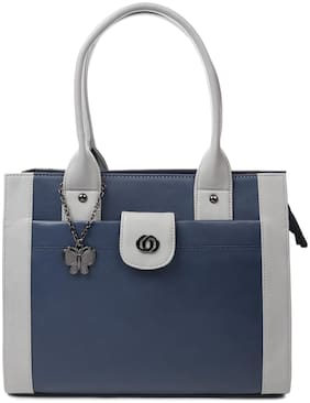 Butterflies Blue PU Handheld Bag - Handbag