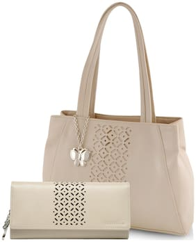 Butterflies White Faux Leather Handheld Bag