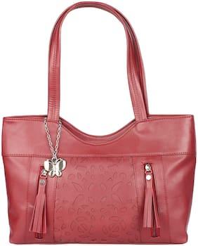 Butterflies Maroon PU Handheld Bag