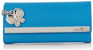 Butterflies Women Blue PU Wallet