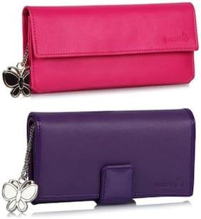 Butterflies Women Wallet(Pink  Purple) (BNS C058)