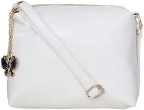 Butterflies White PU Solid Sling Bag