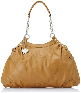 Butterflies Beige Faux Leather Handheld Bag
