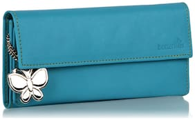 Butterflies Women Solid Faux Leather - Clutch Blue
