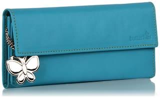 Butterflies Women Solid Faux Leather - Clutch Blue